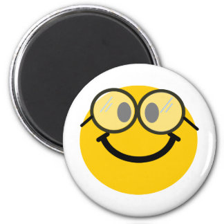 Geeky smiley 6 cm round magnet