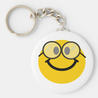 Geeky smiley basic round button key ring