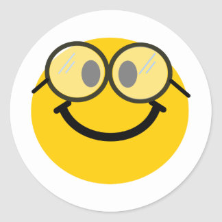 Geeky smiley round sticker
