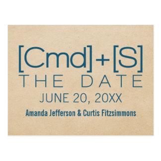 Geeky Typography 2 Save the Date Postcard, Blue Postcard