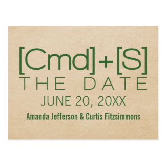 Geeky Typography 2 Save the Date Postcard Green