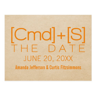 Geeky Typography 2 Save the Date Postcard Orange