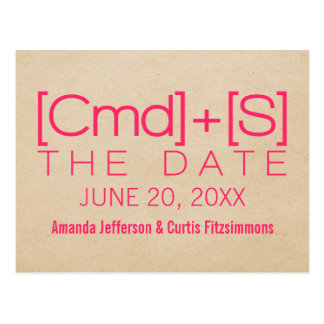 Geeky Typography 2 Save the Date Postcard, Pink Postcard