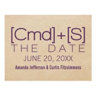 Geeky Typography 2 Save the Date Postcard Purple