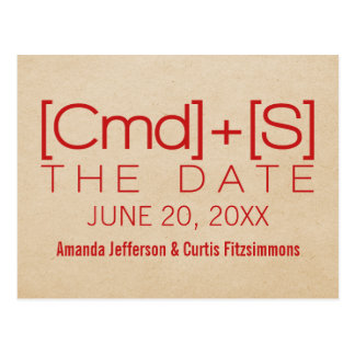 Geeky Typography 2 Save the Date Postcard, Red Postcard