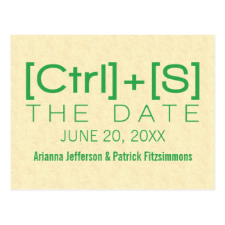 Geeky Typography Save the Date Postcard, Green Postcard