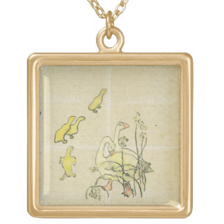 Geese and Goslings (w/c & ink on paper) Gold Plated Necklace