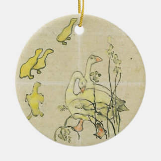 Geese and Goslings (w/c & ink on paper) Round Ceramic Decoration