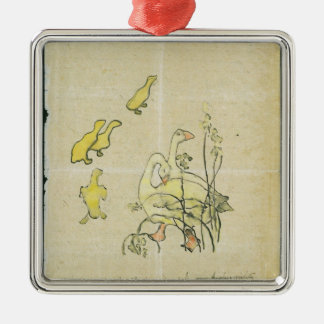 Geese and Goslings (w/c & ink on paper) Silver-Colored Square Decoration