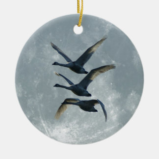 Geese And The Moon Christmas Ornament