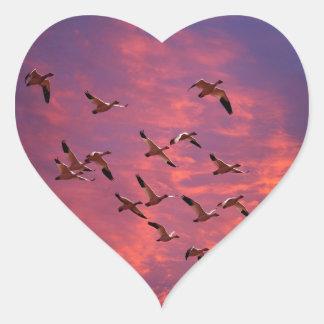 Geese At Sunset Heart Sticker