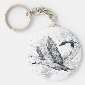 Geese Basic Round Button Key Ring
