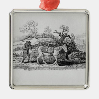 Geese carried to market Silver-Colored square decoration