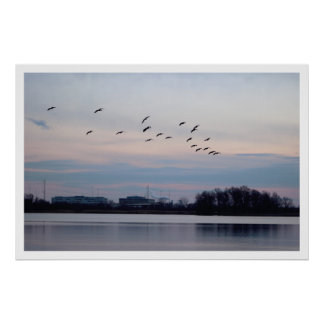 Geese Flying over the Refuge Poster