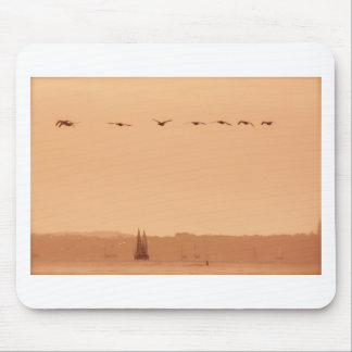 Geese flying passed a yacht in the morning mouse mat