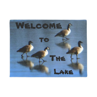 Geese Frozen Welcome to the Lake Doormat