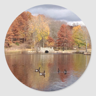 Geese in Reflected Fall Colors - Classic Round Sticker