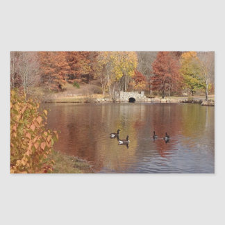 Geese in Reflected Fall Colors - Rectangular Sticker