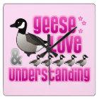 Geese, Love & Understanding Square Wall Clock