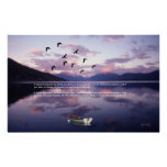 Geese Over Glacier Lake at Sunset Posters