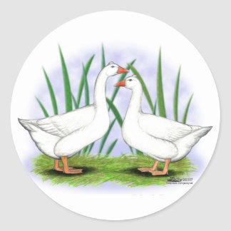 Geese:  Roman Tufted Pair Classic Round Sticker