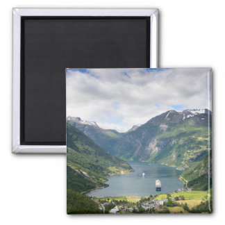 Geirangerfjord view in Norway square magnet