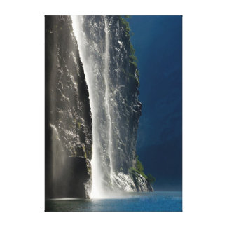 Geirangerfjord waterfall Norway Gallery Wrapped Canvas