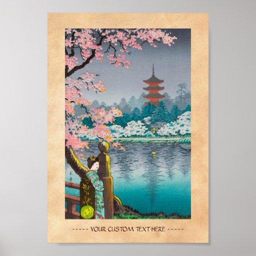 Geisha and Cherry Tree, Ueno Park japanese scenery