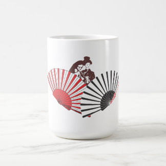 Geisha and fans coffee mug