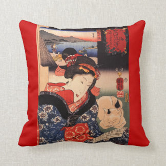 Geisha and Her Cat Throw Cushion