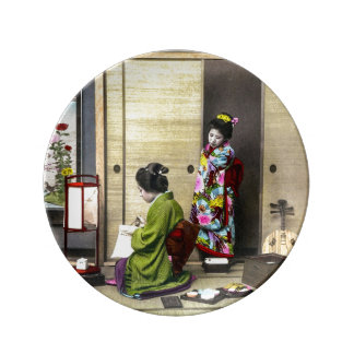 Geisha and her Meiko in Old Japan Vintage Plate