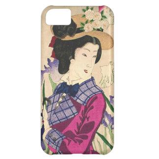 Geisha and Irises Japanese Woodblock Art Ukiyo-e Cover For iPhone 5C