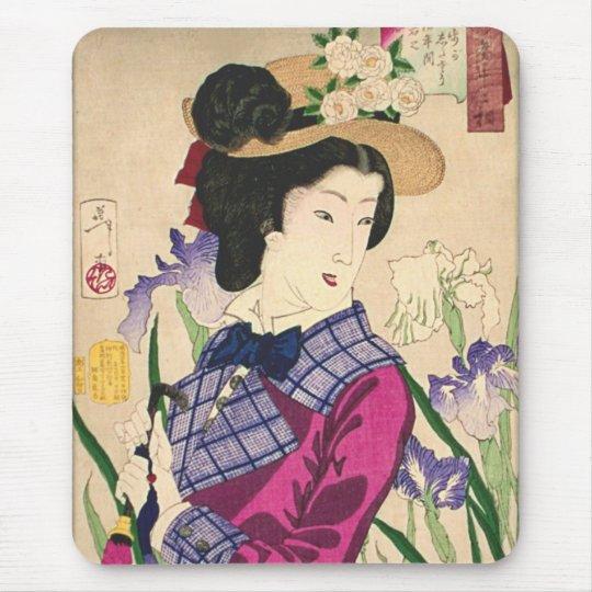 Geisha and Irises Japanese Woodblock Art Ukiyo-e Mouse Mat