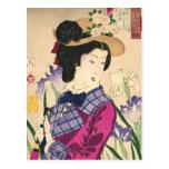Geisha and Irises Japanese Woodblock Art Ukiyo-e Postcard