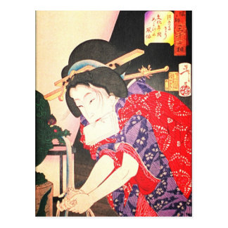 Geisha at the Fountain Japanese Woodblock Uklyo-e Postcard