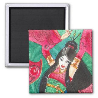 Geisha Dancer Magnet, Bellydance Dragon Art Square Magnet
