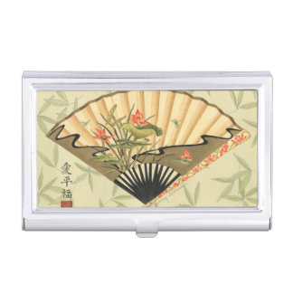 Geisha Fan with Leaves and Floral Print Business Card Holder