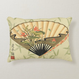Geisha Fan with Leaves and Floral Print Decorative Cushion