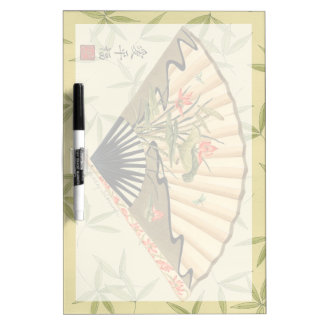 Geisha Fan with Leaves and Floral Print Dry Erase Board