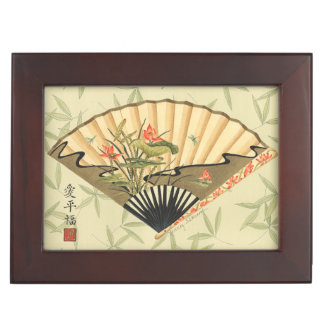 Geisha Fan with Leaves and Floral Print Keepsake Boxes