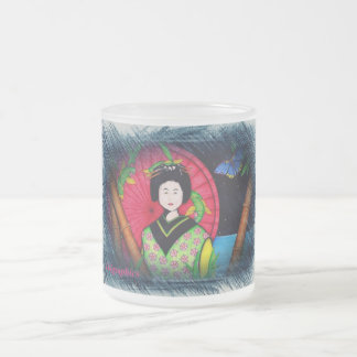 Geisha Frosted Glass Coffee Mug