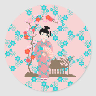 Geisha girl birthday party classic round sticker