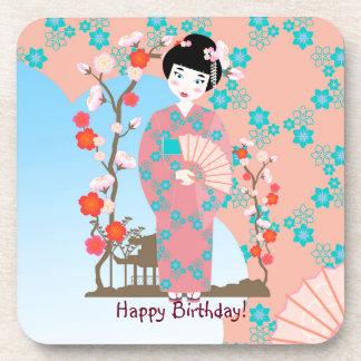 Geisha girl birthday party coasters