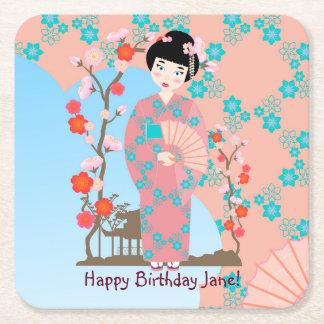 Geisha girl birthday party square paper coaster