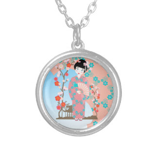 Geisha girl birthday party round pendant necklace