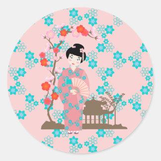 Geisha girl birthday party round sticker
