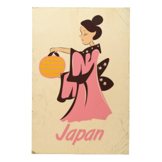 Geisha girl Japan vintage travel poster