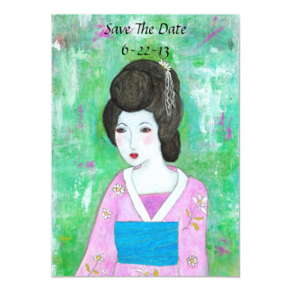Geisha Girl Mixed Media Abstract Art Save The Date 13 Cm X 18 Cm Invitation Card