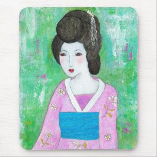 Geisha Girl Mixed Media Abstract Painting Mouse Pad