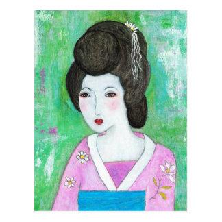 Geisha Girl Mixed Media Abstract Painting Post Card